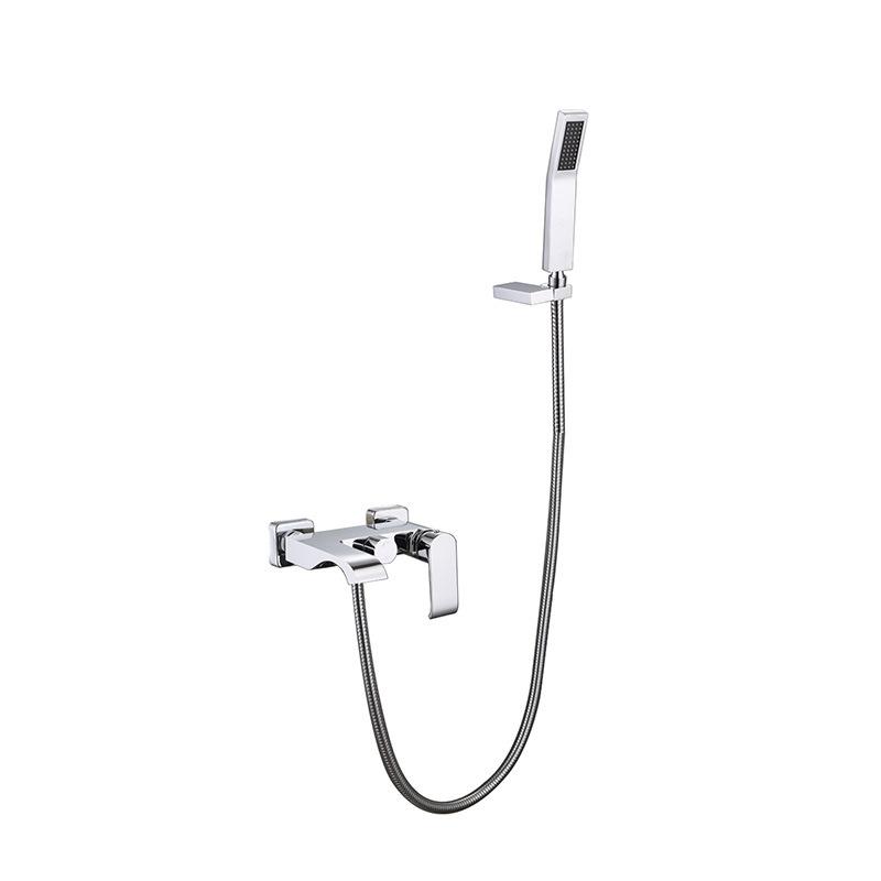 卡仕图 全铜浴缸龙头 挂墙式带下出水带花洒浴室冷热水龙头