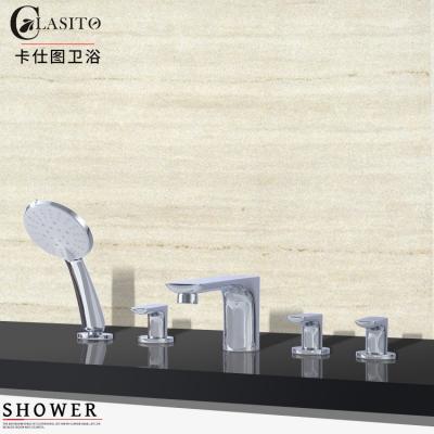 卡仕图 全铜浴缸龙头五件套缸边式嵌入式浴缸花洒加长分体水龙头