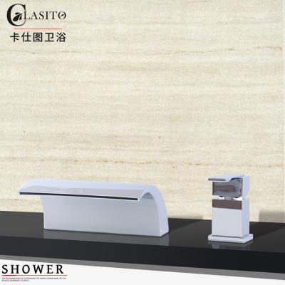 卡仕图 全铜瀑布浴缸龙头缸边式分体两件套水龙头浴室柜面盆龙头