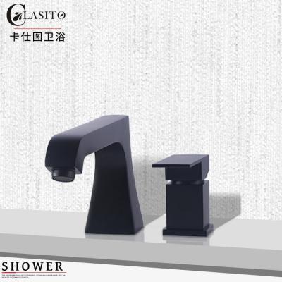 卡仕图全铜冷热浴缸龙头缸边式嵌入式分体两件套黑色浴室柜水龙