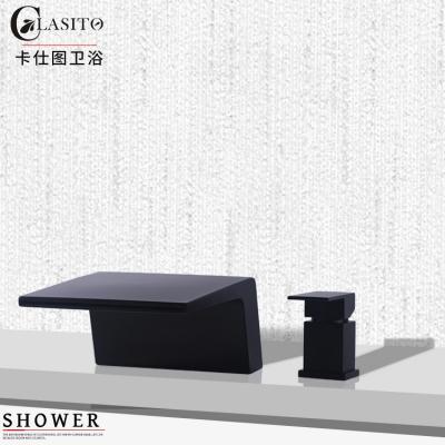 卡仕图 全铜冷热黑色浴缸龙头瀑布出水分体两件套缸边龙头