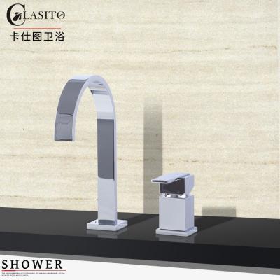 卡仕图全铜浴缸龙头两件套缸边式分体水龙头浴室柜面盆龙头可旋转